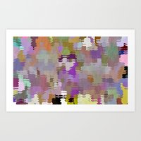 Crowd on the beach, Pattern Art Print