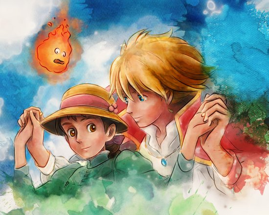 Sophie and Howl from Howl's Moving Castle Tra-Digital Painting Art Print