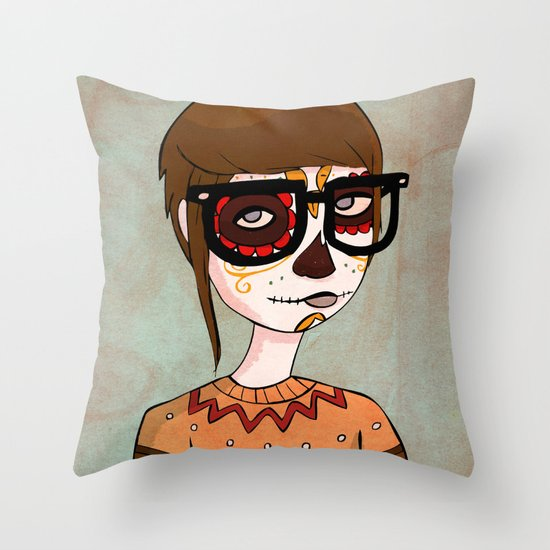 Day of the Dead Hipster Throw Pillow