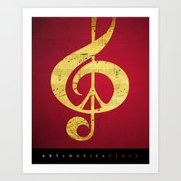 Music & Peace Sheet Musi… Art Print