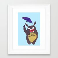 Totoro Is Tired Collage Framed Art Print