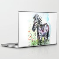 zebra Laptop & iPad Skins featuring Zebra by Olechka
