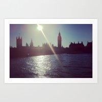 Big Ben Silhouette   Art Print
