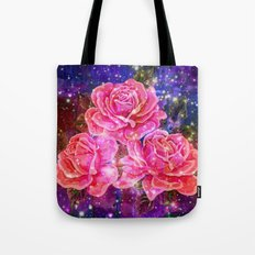 Roses with sparkles and purple infusion Tote Bag