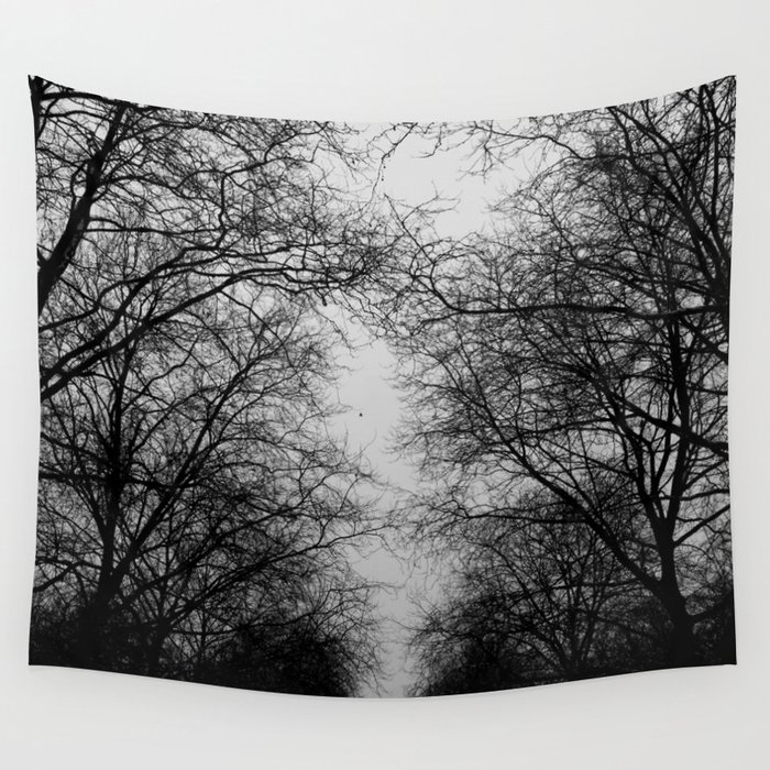 black and white trees wall tapestry by habish society6