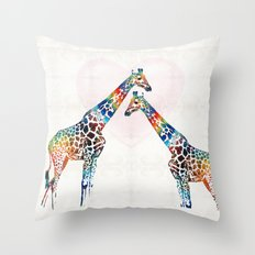 Colorful Giraffe Art - I've Got Your Back - By Sharon Cummings Throw Pillow