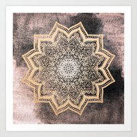 GOLD EARTH FLOWER MANDALA Art Print