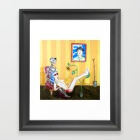 Blood And Bones In A Yel… Framed Art Print