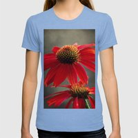 Red Coneflower Womens Fitted Tee Tri-Blue SMALL