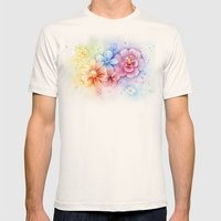 Flowers Watercolor Flora… Mens Fitted Tee Natural SMALL