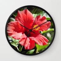 Hibiscus V Wall Clock