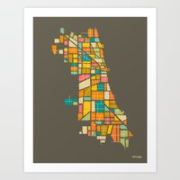 chicago Art Prints featuring CHICAGO by Jazzberry Blue