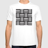 B/W rail fence pattern Mens Fitted Tee White SMALL