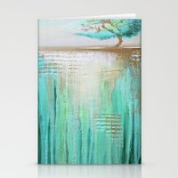 Trees in Green Landscape Stationery Cards