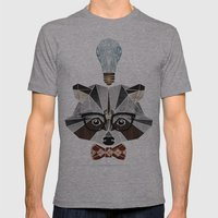 raccoon nerd Mens Fitted Tee Athletic Grey SMALL