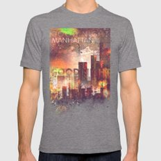 Good Night Manhattan Mens Fitted Tee Tri-Grey SMALL