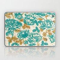 Cyan roses Toile de Jouy Laptop & iPad Skin