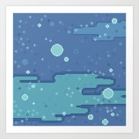Blue Space Bubbles (8bit) Art Print