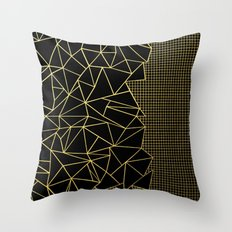 Abstract Outline Grid Gold Throw Pillow