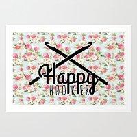 funny crochet vintage floral happy hooker Art Print