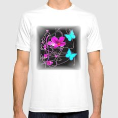 Flowers and Butterflies Mens Fitted Tee SMALL White