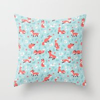 Fox and Bunny Pattern Throw Pillow