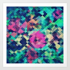 Fruity Rose - Fancy Colorful Abstraction Pattern Design (green pink blue) Art Print