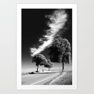 3 Trees With Storm Art Print