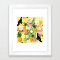 Tropical Toucan & Flamingo Pattern Framed Art Print