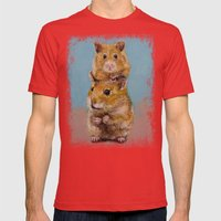 Hamsters Mens Fitted Tee Red SMALL