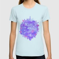 002- Melbourne Womens Fitted Tee Light Blue SMALL