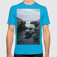 Dark and Rocky Coastline Mens Fitted Tee Teal SMALL