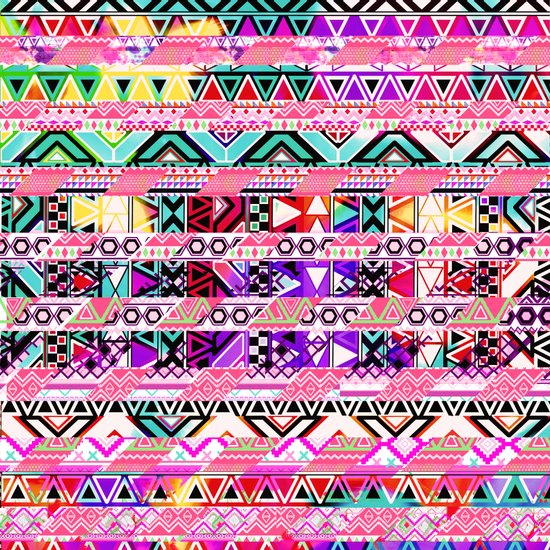 Bright Abstract Aztec Pattern Stripes Patchwork Art Print