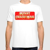 Merry Christmas Ponies Mens Fitted Tee White SMALL