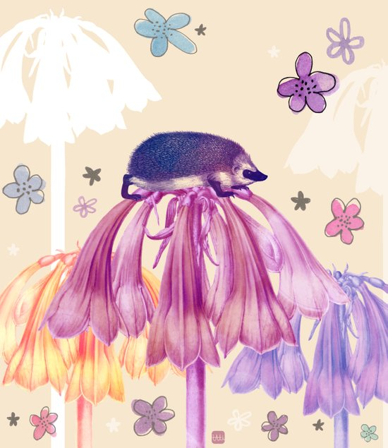 The hedgehog and the flowers Art Print