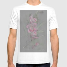 Rose Orchid Drawing White SMALL Mens Fitted Tee