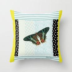 Mint butterfly Throw Pillow
