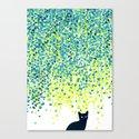 Cat in the garden under willow tree Canvas Print