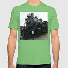 Vintage Railroad Steam Train Mens Fitted Tee Grass SMALL
