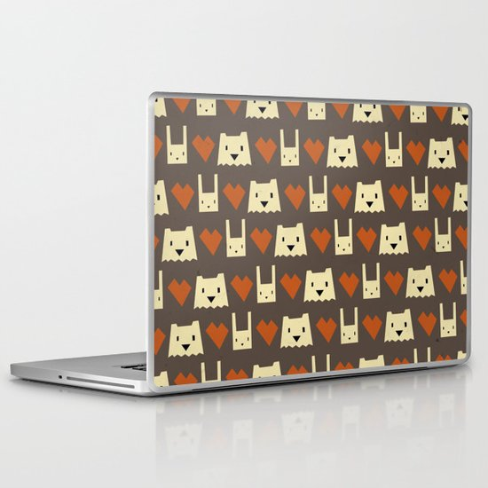 Yeti hearts bunny pattern Laptop & iPad Skin