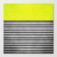Yellow Gray Stripes Canvas Print