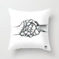 Handholding Throw Pillow