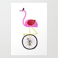 flamingo unicycler Art Print