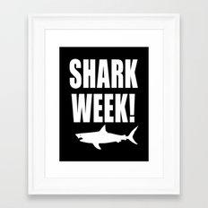 Shark Week (white text on black bg) Framed Art Print