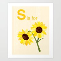 S Is For Sunflowers  Art Print