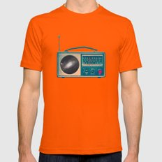 Space Radio Mens Fitted Tee Orange SMALL
