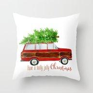 Christmas Wagoneer  Throw Pillow