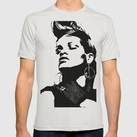 Rihanna. Mens Fitted Tee Silver SMALL