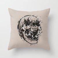 Skull With Demons Strugg… Throw Pillow