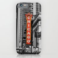 iPhone & iPod Case featuring Black and White with Red Chicago Theatre sign Photography by ginaphoto